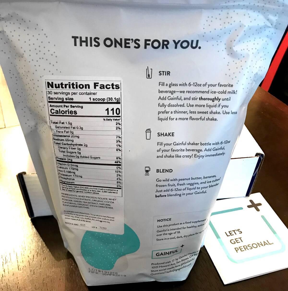 Gain protein powder back