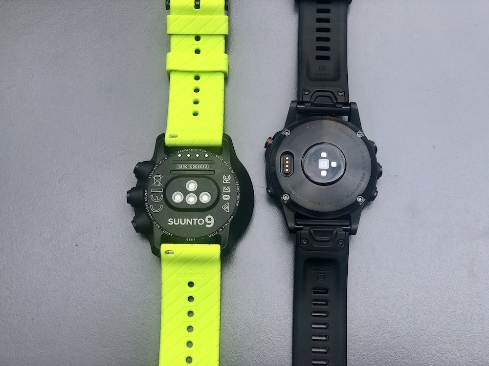 Suunto 9 and Fenix 5 plus back