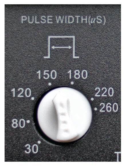 Tens unit pulse width