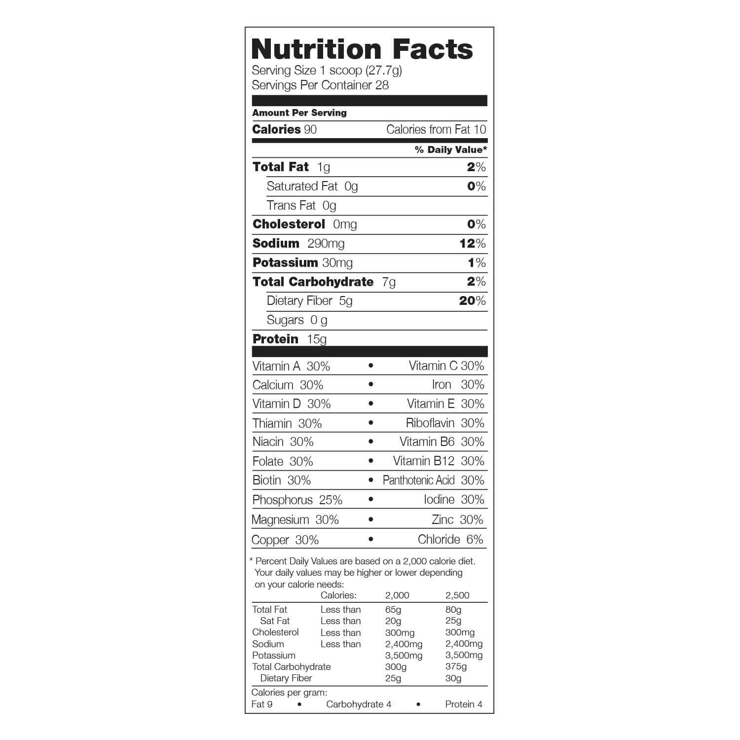 310 shake supplement facts