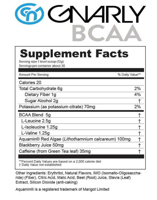 GNARLY BCAA supplement facts