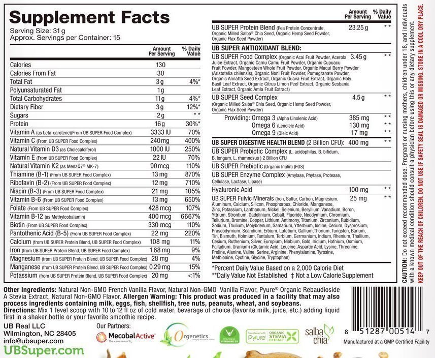 Nutritional Facts UB superfood