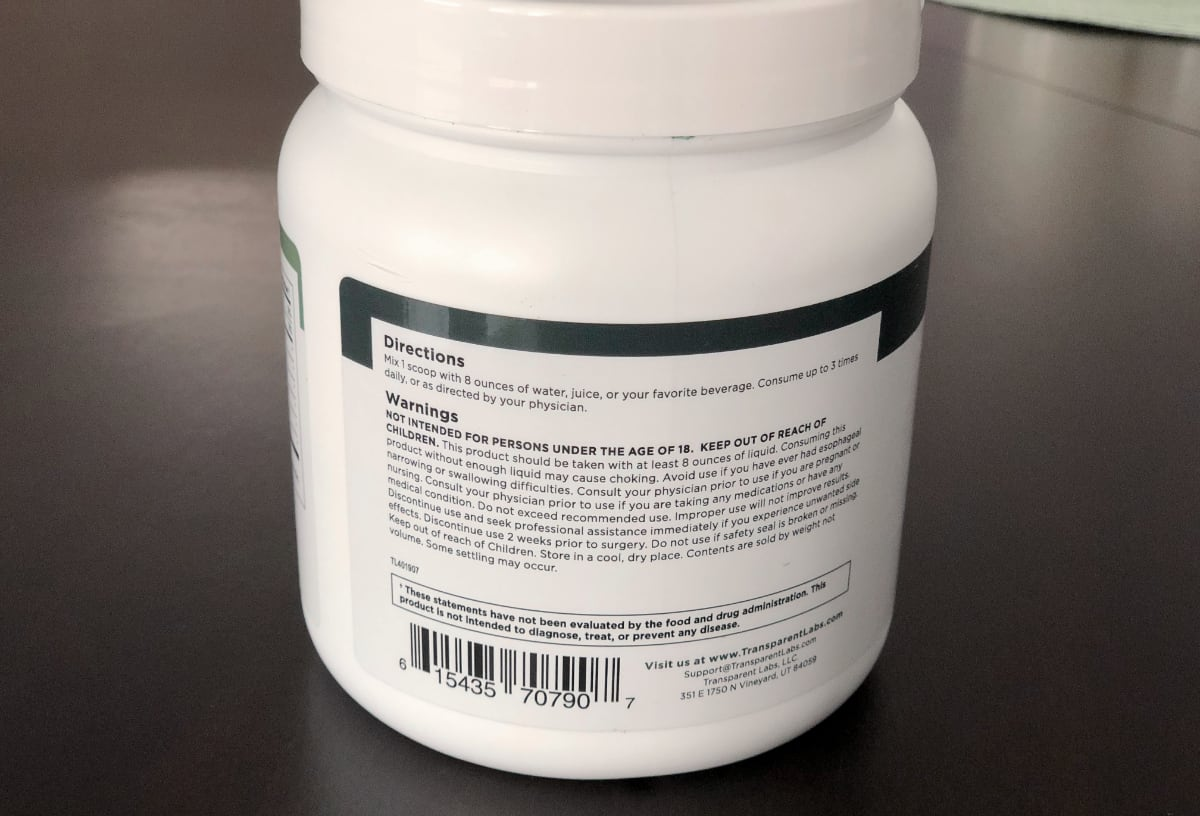 Transparent Labs Prebiotic Greens dosage and directions