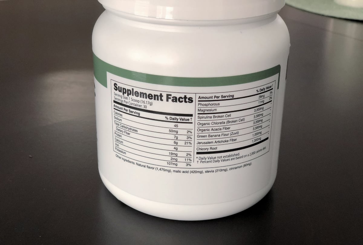 Transparent Labs Prebiotic Greens ingridients